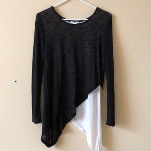 Black and white asymmetrical light sweater